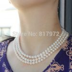 Wedding Top Natural pearl 100% Real pearl Bead highlight Fashion 3 Layer <b>Handmade</b> Necklaces Set For Women <b>Jewelry</b> Freshwater