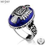 MetJakt Vintage Vampire Diaries Ring & Natural Lapis Ring Solid 925 Sterling Silver Men's Punk <b>Handmade</b> <b>Jewelry</b>