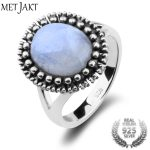 MetJakt Natural Gem Moonstone Rings Solid 925 <b>Sterling</b> <b>Silver</b> Vintage Ring for Women's Fine <b>Jewelry</b> (Size 6 7 8)