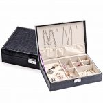 Epackfree Two-Layer Lint Leather Jewellery Earrings Studs <b>Necklace</b> Wedding Gift Box Organizer Display Storage Case With Lock