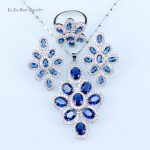 L&B fashion CZ <b>silver</b> Color 925 Logo Jewelry Sets for women Wedding Blue Crystal Dangle <b>Earrings</b>/Pendant/Necklace/Ring
