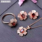 ZHHIRY Natural Garnet Gemstone <b>Jewelry</b> Set Genuine 925 <b>Sterling</b> <b>Silver</b> Necklace Pendant Ring Earring Fine <b>Jewelry</b>