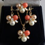 Women's Wedding New 8mm Mix Colors Shell Pearl GP Crystal Earrings Pendant Ring A Set silver mujer moda