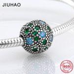 925 Sterling Silver blue and green zircon clips beads diy womens <b>Jewelry</b> <b>making</b> Fit Original Pandora Charm Bracelet Authentic