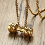 Men's Barbell <b>Jewelry</b> Hollow Greek Key Dumbbell Pendant Necklace for Men Stainless Steel Sport <b>Accessories</b> Trendry Jewellery 24″
