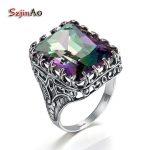 Szjinao Punk Style 925 Sterling <b>Silver</b> Ring Women Mystic Rainbow Crystal Multi-element Wide Big vintage <b>Silver</b> Gold <b>Jewelry</b> Kpop
