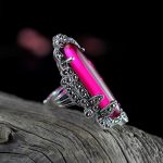 925 sterling <b>silver</b> <b>jewelry</b> inlaid Vintage <b>Silver</b> Ruby droplets Marcasite ring