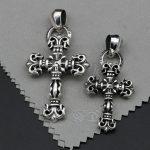 Genuine 925 Sterling <b>Silver</b> Cross <b>Necklace</b> Pendant GD right-wing Retro Pendant Male Tide Accessories