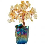 SUNYIK 4 Inch Natural Yellow Crystal Money Tree,Rainbow Aura Titanium Crystal Cluster Base Bonsai Figurine for Wealth and Luck