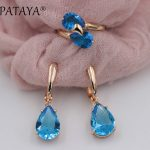 PATAYA New Arrivals Women Wedding Romantic <b>Jewelry</b> Blue Water Drop Natural Zirconia Earrings Ring Sets 585 Rose Gold <b>Jewelry</b> Set