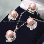 Prett Lovely Women's Wedding 10MM Pink South sea Shell Pearl Earrings Ring & Necklace Pendant Set AAA GP Bridal brincos