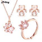MoBuy Cute Bearfoot Natural Gemstone Pink Rose Quartz 100% 925 Sterling <b>Silver</b> 3pcs Jewelry Sets For Women Fine Jewelry V035-ENR