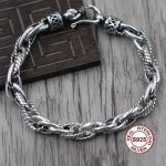 S925 Sterling <b>Silver</b> <b>Bracelet</b> Simple and elegant Personality couple style Unique twist polished Send a gift to love
