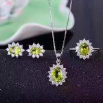 Natural peridot s925 sterling <b>silver</b> <b>earrings</b> ring Pendant diana jewelry sets natural lemon gemstone fine jewelry women