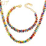 U7 Coral Beads Fashion <b>Jewelry</b> Set For Women Trendy Colorful Cute Bead Bracelet And <b>Necklace</b> Set Wholesale S778