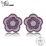 JewelryPalace Flower 1.1ct Created Ruby Pave <b>Earrings</b> 925 Sterling <b>Silver</b> Brand New Jewelry Accessories wedding party gift