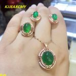KJJEAXCMY Fine jewelry, 925 sterling <b>silver</b> inlaid Xinjiang Hetian jade green chalcedony ring pendant female models 3 sets