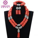 <b>Silver</b> Coral Bridal Necklace Set for Women African Costume Jewellery Set Beaded Coral Indian Jewelry Set CNR828