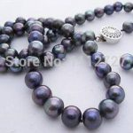 """New Fashionable <b>Jewelry</b> Sets 7-8 mm Black Akoya Cultured Pearl Chains and Necklaces <b>Handmade</b> Earrings Natural Stone 18 """""""