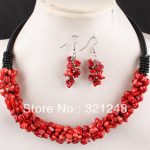 Newly 6x4mm beautiful red natural coral chips irregular beads rope charms <b>making</b> necklace earring engagement <b>jewelry</b> set GE1164