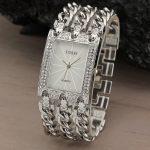A058 Women Watch Luxury Wrist Watch Analog Quartz Watches Stainless Steel Fashion Rhinestone <b>Bracelet</b> Three Chains <b>Silver</b>