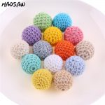 New 20MM 100Pcs/Lot Loose Round Colorful Crochet Beads <b>Handmade</b> Fashion Knitting Beads For Child DIY <b>Jewelry</b> Necklace Bracelet