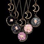 Wholesale <b>Handmade</b> Flower Velvet Daisy Moon Charm Pendant Necklace for Women Girls Bronze <b>Jewelry</b> Gifts bijoux 5PCS/Lot ZS4822
