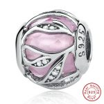 European Style 925 Sterling Silver Pink & Clear CZ Charms Beads For <b>Jewelry</b> <b>Making</b>