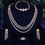 GODKI Luxury Flower Leaf Design Women Nigerian <b>Wedding</b> Naija Bride Cubic Zirconia Necklace Dubai 4PCS <b>Wedding</b> <b>Jewelry</b> Set