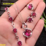 KJJEAXCMY boutique jewels 925 <b>silver</b> inlaid with a natural pink topaz ring pendant <b>earrings</b> bracelet with a necklace.a