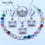 Multicolor 925 Stamp <b>Silver</b> Color Jewelry Set Mystic White CZ Jewelry Sets For Women Necklace/Earrings/<b>Bracelet</b>/Pendant/Ring