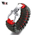 Vnox Adjustable Outdoor Survival Bracelet for Men Braided Rope Chain Screw Stainless Steel Closure <b>Handmade</b> Male <b>Jewelry</b>