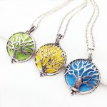 3pcs <b>Antiqued</b> Silver Mixed Tree Of Life Style Copper Magnet Locket Essential Oil Aroma Diffuser Trendy Pendant Necklace <b>Jewelry</b>