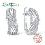 SANTUZZA <b>Silver</b> Earrings For Women 925 Sterling <b>Silver</b> Stud Earrings <b>Silver</b> 925 with Stones Cubic Zirconia brincos <b>Jewelry</b>