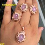 KJJEAXCMY Fine <b>jewelry</b>, 925 <b>sterling</b> <b>silver</b> inlaid natural Furongshi ring pendant earrings female models 3 sets of wholesale