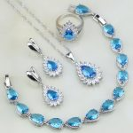 Fire Blue Zircon White Crystal Bridal 925 Sterling Silver <b>Jewelry</b> Sets For Women Party Earring/Pendant/<b>Necklace</b>/Bracelet/Ring