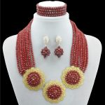 nigerian wedding african beads <b>jewelry</b> set 100% Crystal beads 2 color multi layer flower statement <b>necklace</b> sets for women