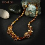 KCALOE Brown Crystal Beads Statement Necklace Natural Onyx Stone Luxury <b>Jewelry</b> Collar Chokers Necklaces For Women <b>Handmade</b>