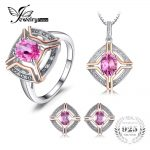 JewelryPalace Vintage 4ct Oval Pink Topaz Ring Pendant Necklaces Stud Earrings Plated Rose Gold <b>Jewelry</b> Sets 925 <b>Sterling</b> <b>Silver</b>