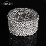 Chran Rhinestones Crystal Bridal Bridesmaid <b>Wedding</b> Stretch Wrap Chain Bracelet & Bangle Fashion Alloy Lady Gift <b>Jewelry</b> LBE017