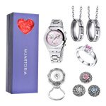 MJARTORIA 1Set Of <b>Jewelry</b> For Love Mother 's Day Gift Purple Heart Gift Box Charm <b>Necklace</b> Ring Watch Brooch Buttons Set For Mon