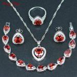 Heart Four-Piece 925 <b>Silver</b> Color Jewelry Sets For Women Red Cubic Zirconia Necklace/Earrings/Ring/<b>Bracelet</b>/Pendants Set