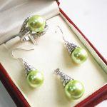 Women's Wedding Hot! elegant new <b>jewelry</b> plated + 12mm green shell pearl pendant, earring, , ring set silver mujer moda