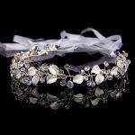Women Silver Alloy Leaf Crystal Hair <b>Jewelry</b> for Wedding Hair Accessories 37 cm <b>Handmade</b> Rhinestones Bride Headdress E160305-18