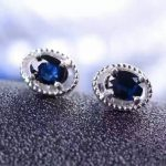 natural sapphire stone earrings 925 <b>silver</b> Natural gemstone earring women classic fashion round fine earrings <b>jewelry</b> for party
