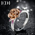 EDI Natural Ruby 100% 925 <b>Sterling</b> <b>Silver</b> Rings For Women Gemstone Rose Flower Beauty And The Beast Fine <b>Jewelry</b>