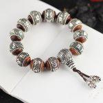 100% <b>Silver</b> Sandalwood Traditional Tibetan Buddhism <b>Bracelet</b> Six Words Mantras OM MANI PADME HUM Antiqued Metal Amulets Beads