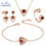 LAMOON Real 925-Sterling-<b>Silver</b> Red Garnet Natural Gemstone 4PCS Jewelry Sets S925 Fine Jewelry for Women Wedding Gift V026-1