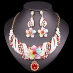 New Fashion Indian Bridal <b>Jewelry</b> Sets Wedding Costume <b>Necklace</b> Earrings Sets Flowers crystal set of jewellery for Brides Women