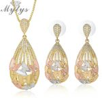 Mytys European Fashion Design Tricolor <b>Jewelry</b> Sets Butterfly Pattern Frosted Gold Three Color Earrings <b>Necklace</b> Sets for Women